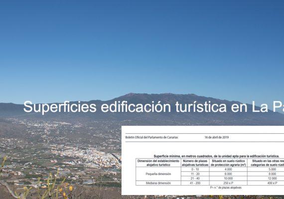 Superficies edificación turística en La Palma